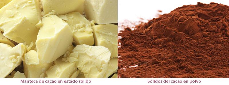 manteca de cacao y sólidos del cacao