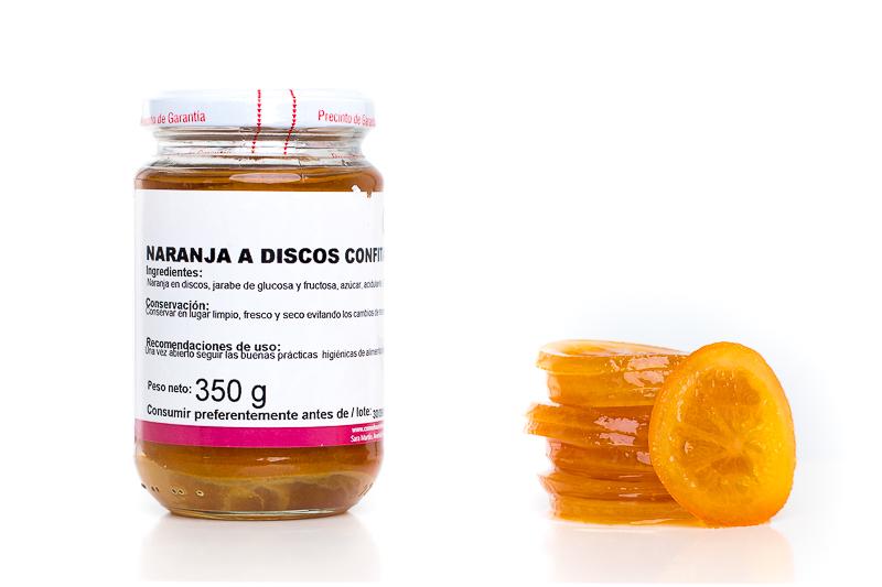 naranja confitada en discos