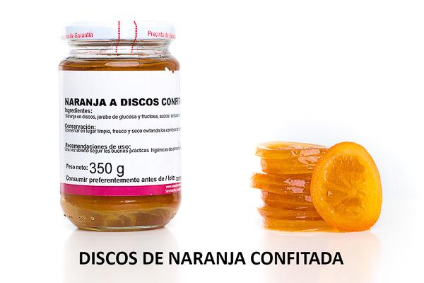 discos de naranja escarchada