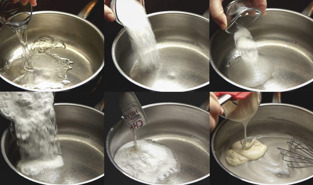 Añadir los ingredientes al helado de mahonesa con piña