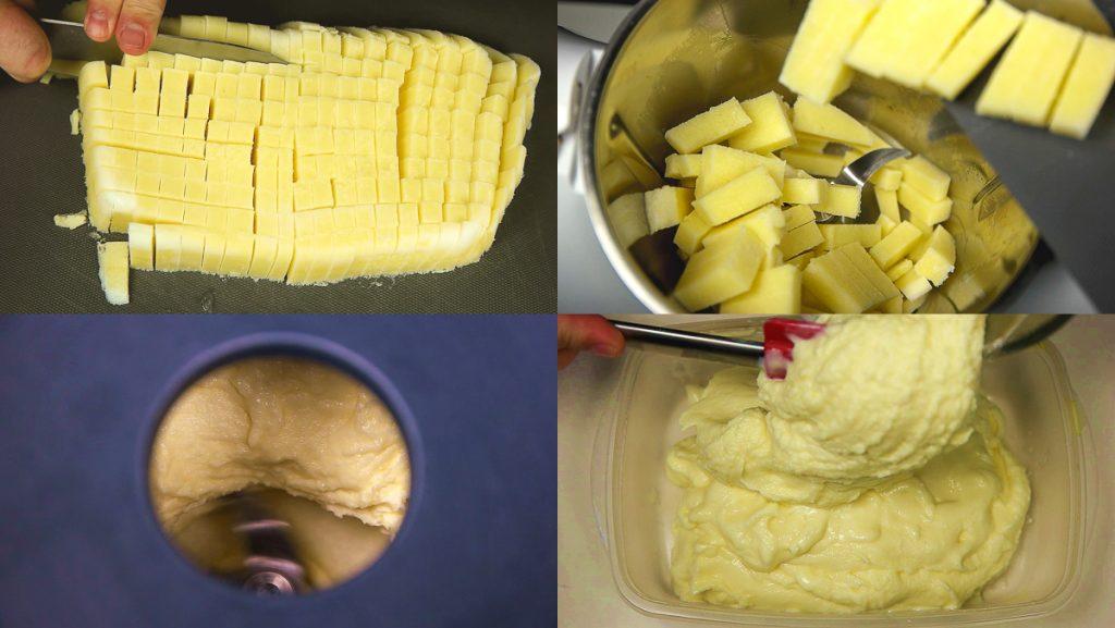 Trocear el helado salado de mahonesa yogurt y piña